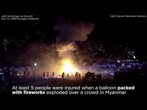 The KiddChris Show - Hot Air Balloon Filled With Fireworks Explodes Over Crowd At Festival
