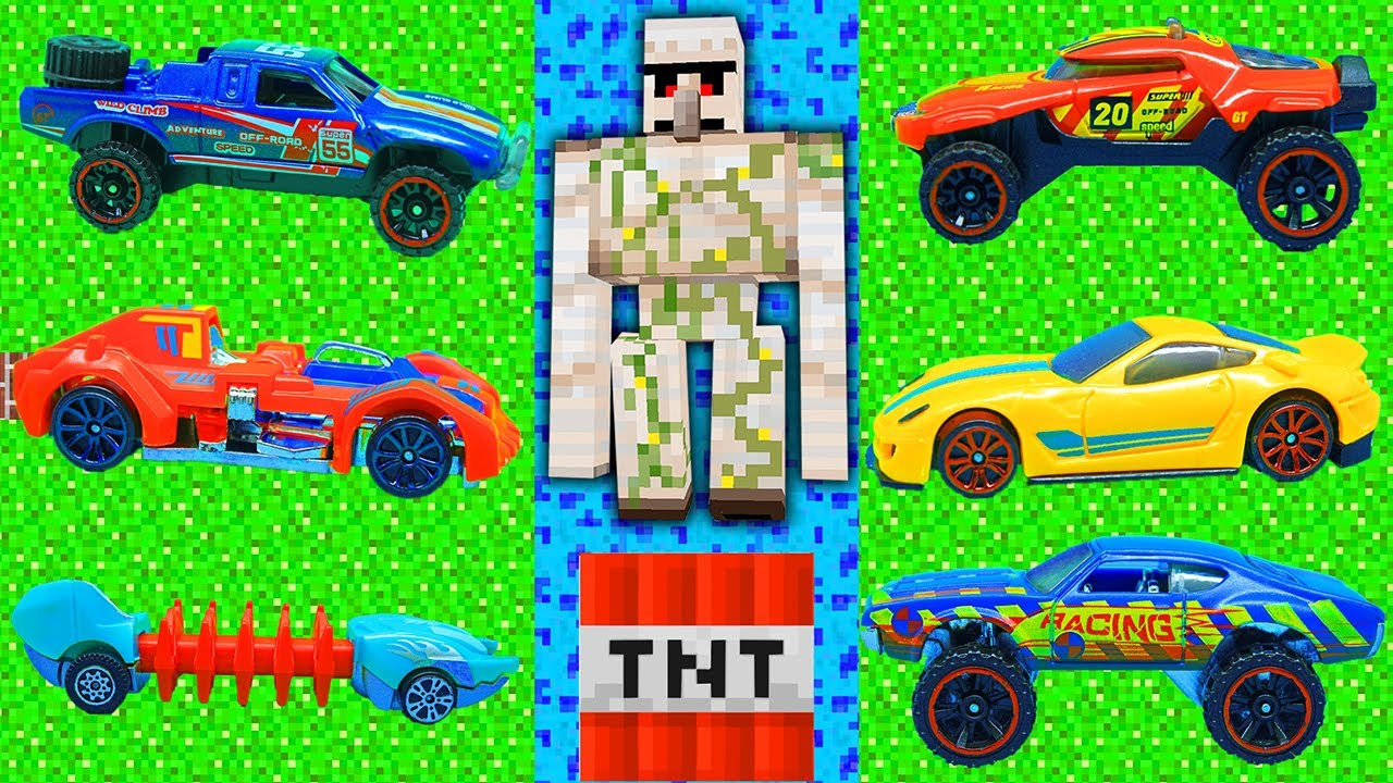 HOT WHEELS cars in MINECRAFT WORLD - IRON GOLEM VS Cars Cars lab   New experiment video 2020