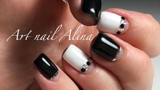 видео Черно белый френч на ногтях со стразами, рисунками, красивым дизайном, треугольником. Новинки дизайна, идеи и фото