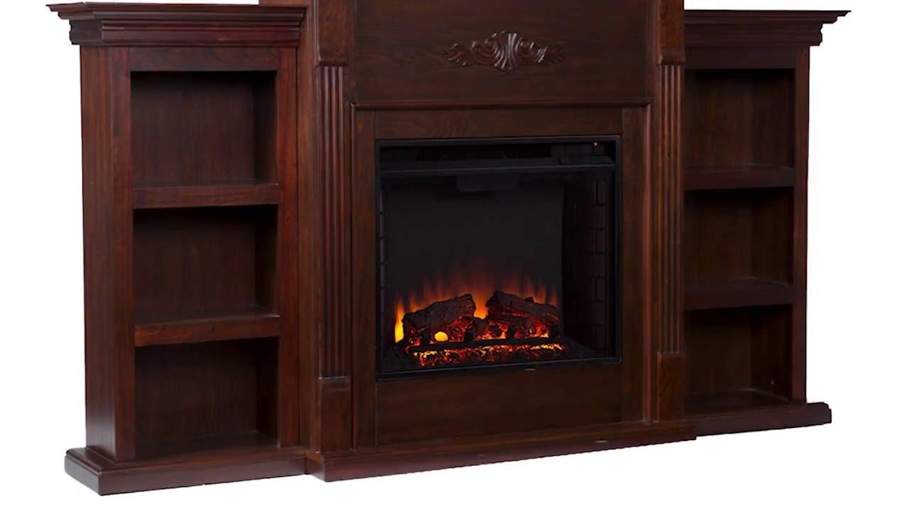 Fe8545 Tennyson Electric Fireplace W Bookcases Classic Espresso Sei Furniture