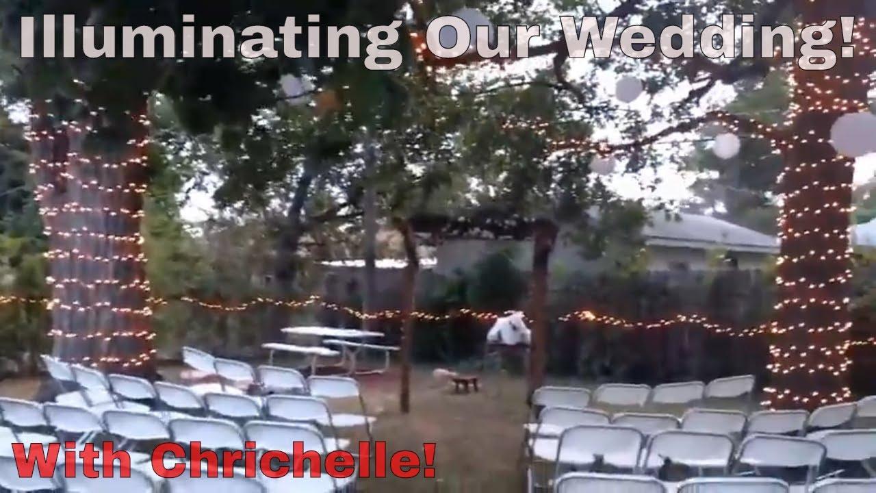 using christmas lights for our little backyard wedding youtube