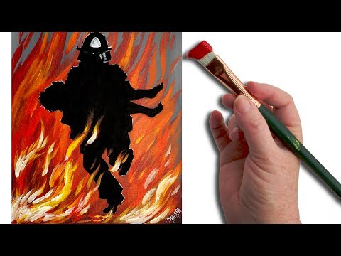 Fireman Rescue Acrylic painting Tutorial for beginning Artists