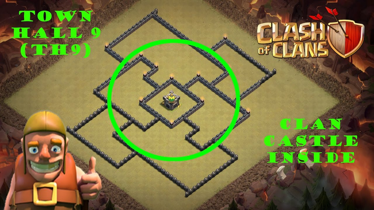 town hall 9 (th9) best war base 2017|clan castle inside| best clan
