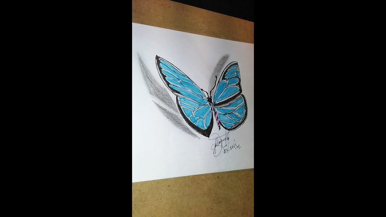 Como dibujar una mariposa 2D para hacer tatuaje How to draw a 2D