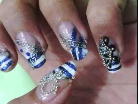 Summer nautical marine beading nail design tutorial youtube prinsesfo Gallery