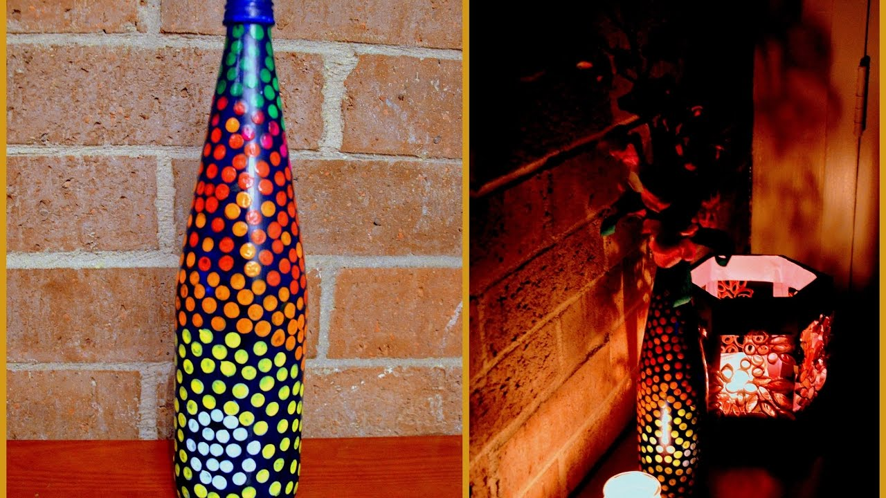 Diy bottle painting youtube for Can acrylic paint be used on glass bottles