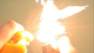 Как сделать огнемёт из апельсина :)