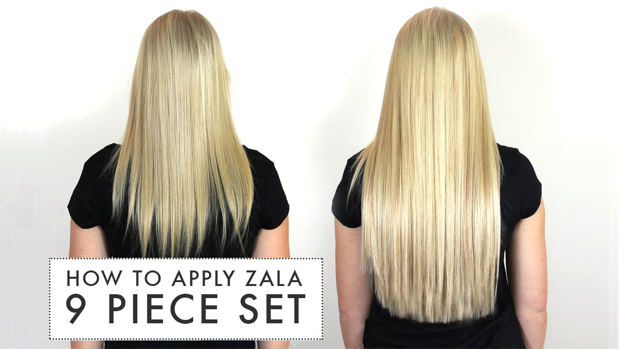 How to apply zala 9 piece set of clip in hair extensions youtube pmusecretfo Images