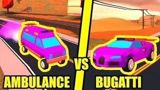 AMBULANCE is FASTER THAN BUGATTI??!! | Roblox Jailbreak Vehicle Speed Test