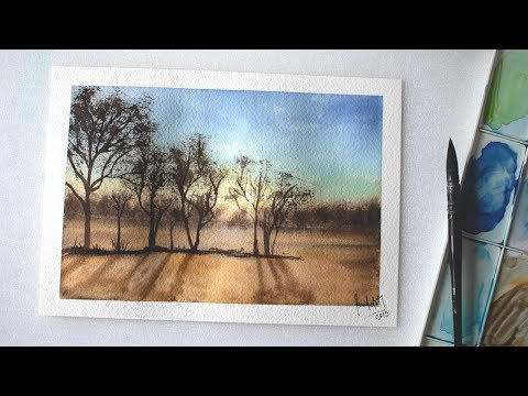 LANDSCAPE watercolor painting, trees, sky, sunset – easy for beginners