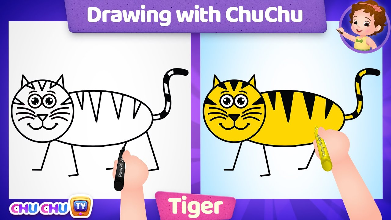 How to Draw a Tiger Step by Step? - Drawing with ChuChu - ChuChu TV Drawing Lessons for Kids