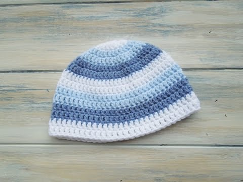 Crochet How To Crochet A Newborn Baby Boy Stripey Beanie Youtube