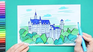 How to draw and color Neuschwanstein Castle, Germany