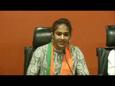 Wrestler Babita Phogat with father Mahavir Singh Phogat join BJP