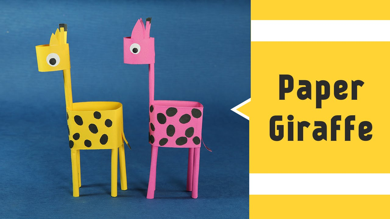 paper giraffe fun paper craft animal ideas for kids to make