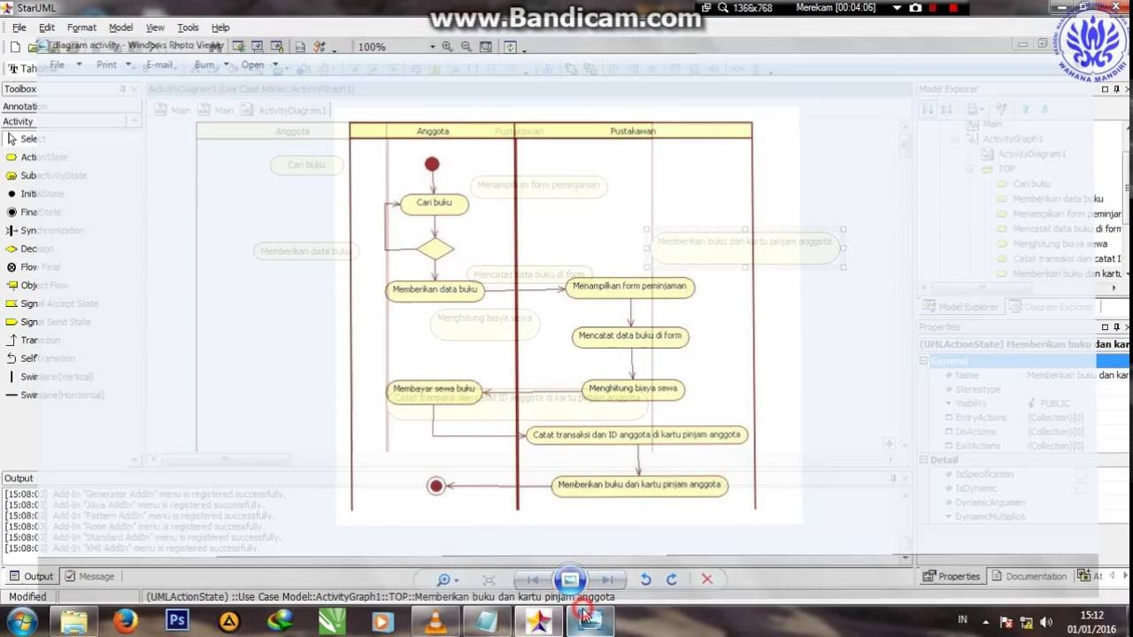 how to draw activity diagram in staruml 5.0