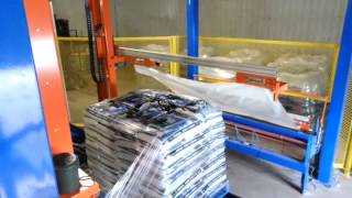 Solutech automatic rotary arm stretch wrapper with incycle top sheet dispenser