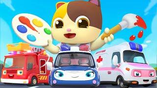 汽車顏色歌 | 最新學顏色兒歌童謠 | 卡通 | 動畫 | 寶寶巴士 | BabyBus