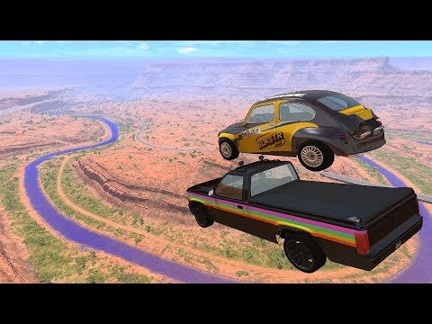 crazy-vehicle-high-speed-jumps-in-canyon-&-blue-slime-river---beamng.drive-jumps