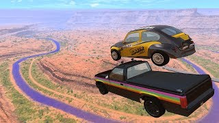 Crazy Vehicle High Speed Jumps In Canyon & Blue Slime River - BeamNG.drive Jumps