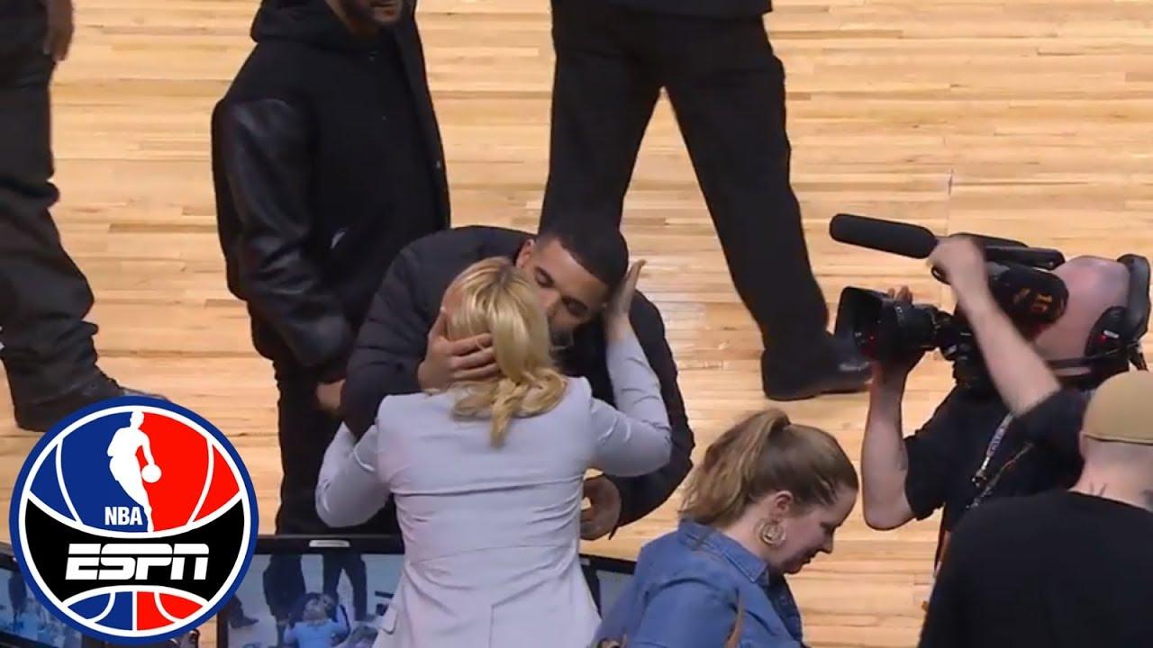 Drake gives Doris Burke a kiss on the cheek at Celtics vs. Raptors   ESPN
