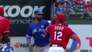Rougned Odor Powerfull PUNCHES Jose Bautista In The FACE ( VIDEO )
