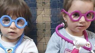 Fatih Selim ve Ela yine doktor olmuşlar.gözlükleri takmışlar muayene ediyorlar