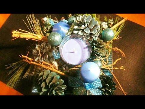 Centro de mesa para navidad pi as y hojas de pino - Centros de mesa con pinas ...