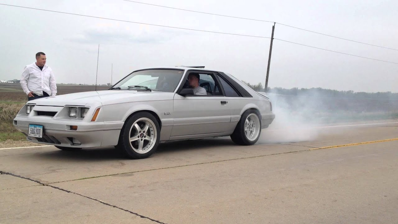 My 1986 mustang gt 1st and 2nd gear burn out youtube