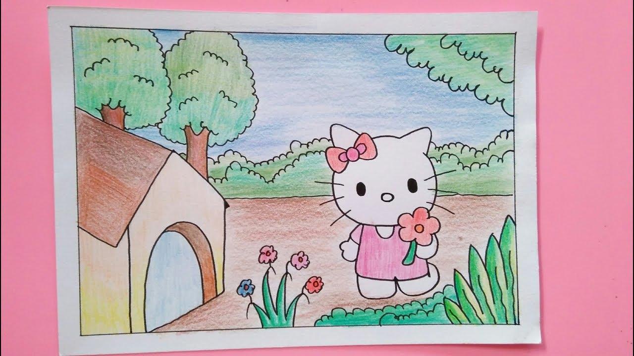 Cara Menggambar Dan Mewarnai Hello Kitty Dan Pemandangan