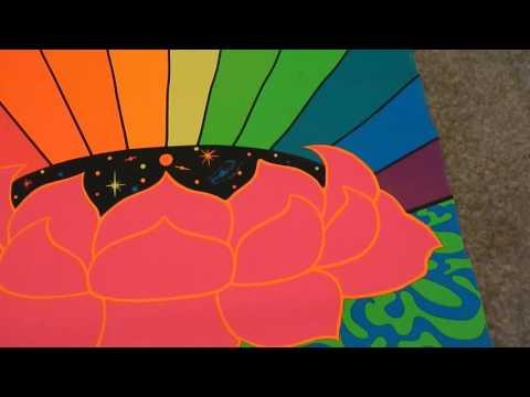 1967 PSYCHEDELIC Original Hippie 60's LSD Black Light Art Poster Rainbow Flower Stars