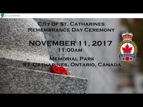 Remembrance Day Ceremony from the Cenotaph in Memorial Park