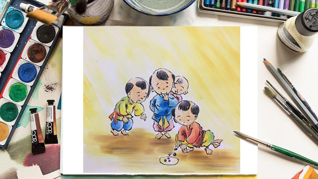 [ stART Học Vẽ ] Cách vẽ người, Trò chơi dân gian cho Học sinh Tiểu học Phần 2