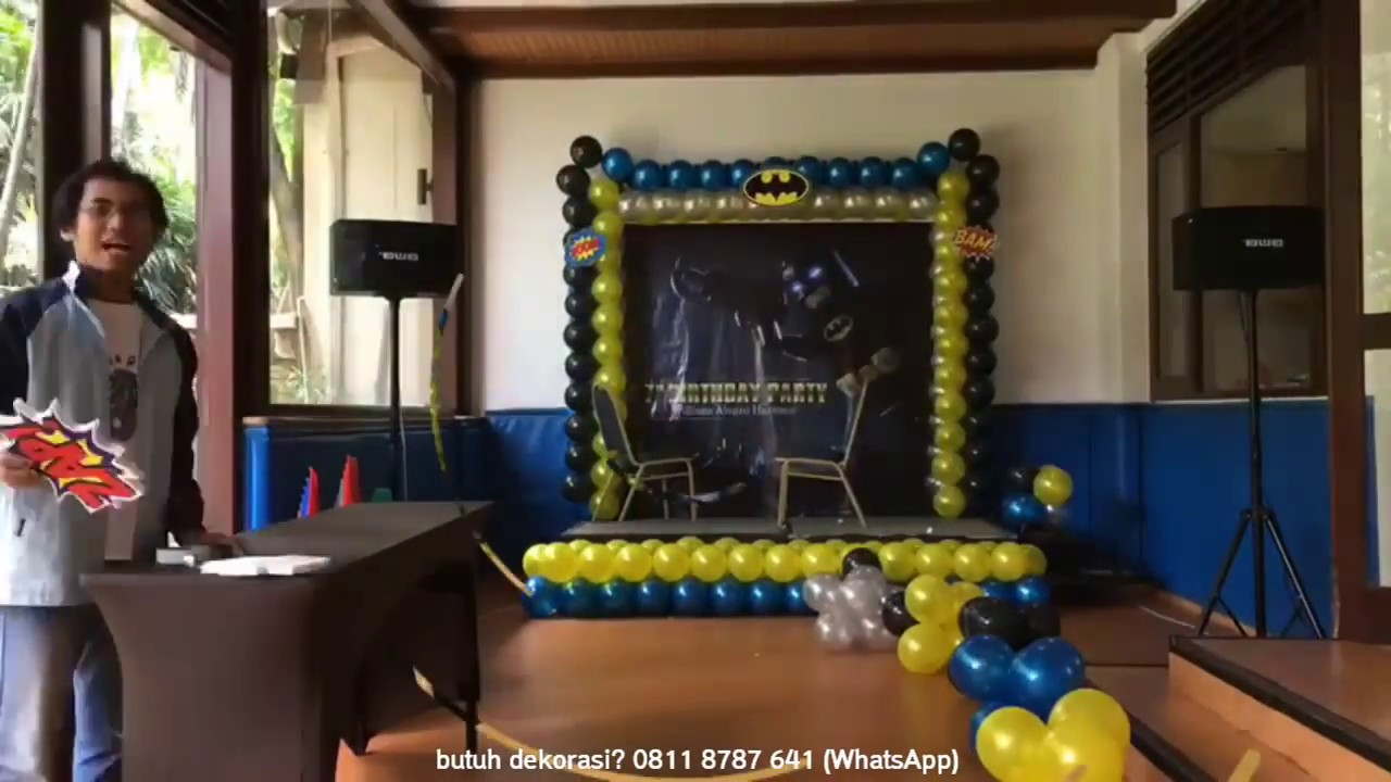 Dekorasi balon batman di panda club hotel aryaduta youtube for Dekorasi birthday di hotel