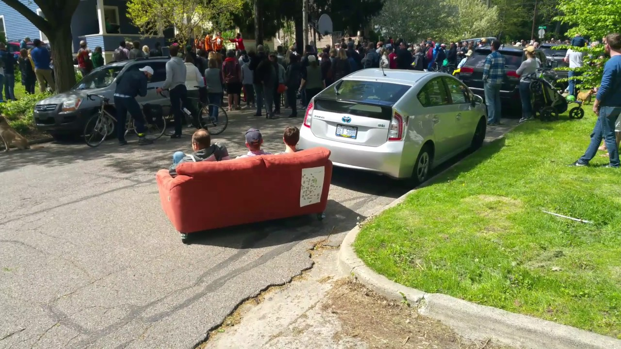Couch In The Street On Wheels Youtube