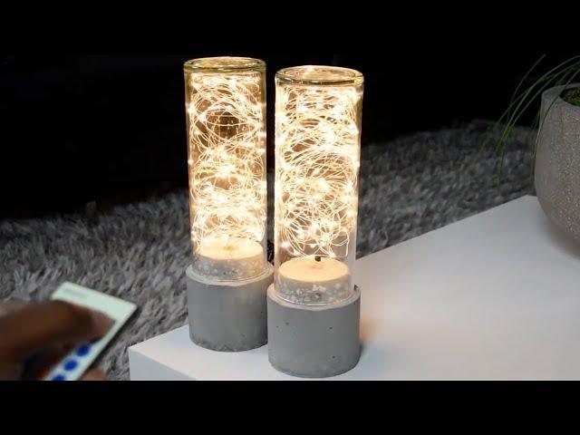 Lámpara De Hormigón Hazlo Tu Mismo | Luces LED De Cadena DIY