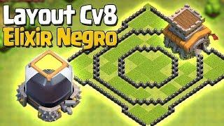 LAYOUT CV 8 HÍBRIDO P/ DEFENDER ELIXIR NEGRO - ATUALIZADO - CLASH OF CLANS