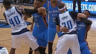 Russell Westbrook BULLDOZES Harrison Barnes Trying to FIGHT Seth Curry