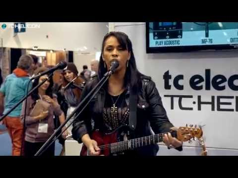 VoiceLive 3 - funk demo with Selena Evangeline - NAMM 2015