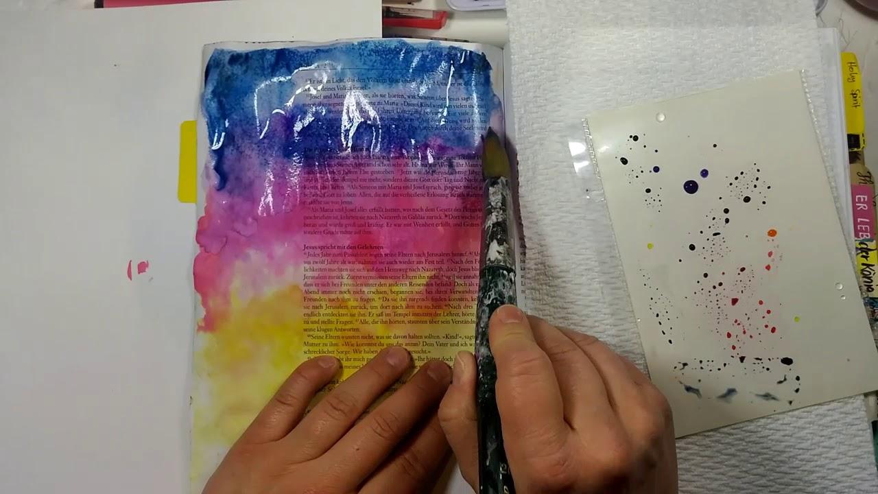 Mit Wasserfarbe Malen : bible art journaling galaxie malen mit wasserfarben youtube ~ Watch28wear.com Haus und Dekorationen