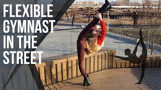 Flexible Gymnast in the Street. Oversplits Training.