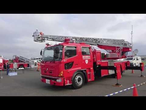 東京消防庁最新はしご車の軽快な上昇・旋回操作!!The latest ladder fire truck