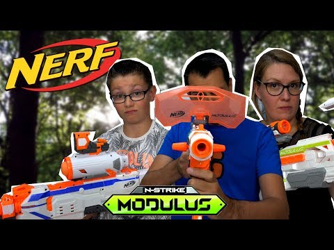 NERF MODULUS - Mega Unboxing & challenge en famille fr ! Family Geek