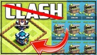 MASSIVE Gems 🔥 Clash of Clans 🔥'No Clash CASH' TH13