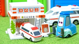 Disney Cars Guido Tomica Kimi Tite Town assembling fire station Toy...