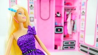 Видео для девочек. Игрушечный шкаф для куклы. Маша и Барби учатся быть аккуратными