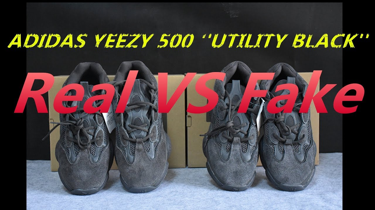 18bc18c7b8573 REAL VS FAKE YEEZY 500 Utility Black - YouTube