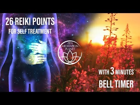 Guided Reiki Self Treatment Timer - Bell Alarm Every 3 Minutes With 26 Hand Placements Animation