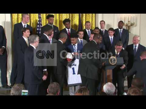 OBAMA PRESENTED DUKE BASKETBALL,JERSEY