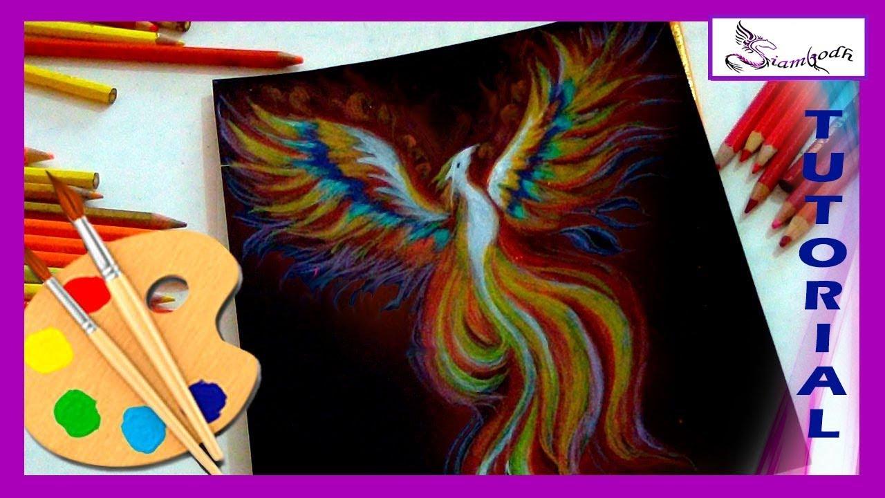 Como Dibujar Fénix Con Lápices De Colores Youtube